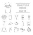 milk product and sweet set icons in outline style vector image vector image