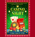 night casino bright poster vector image vector image