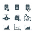 oil price icon set vector image vector image