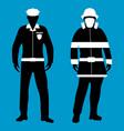 policeman and fireman flat icon service 911 vector image vector image