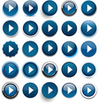 Round dark blue arrow icons vector image