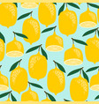 seamless pattern with lemons trendy hand vector image