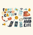 set icons phone communication theme telephones vector image