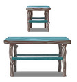set of wooden table and stool in turquoise vector image vector image
