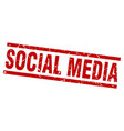 square grunge red social media stamp vector image vector image