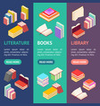 stack of color books banner vecrtical set vector image vector image