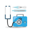 stethoscope check briefcase with thermometer vector image vector image