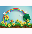 sunflower and rainbow vector image