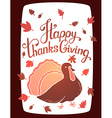 thanksgiving with turkey bird and text happy vector image vector image