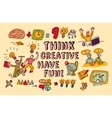 Think creative fun doodles people color vector image vector image