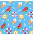 watermelon ice cream lemon anchor pattern blue bac vector image vector image