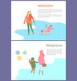 wintertime season activities mothers and kids vector image vector image