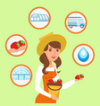 woman holding bucket of strawberries vector image vector image