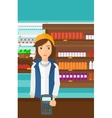 Woman paying with smart watch vector image vector image