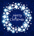 christmas wreath on blue background vector image
