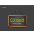 Blackboard Sign Closed Background vector image