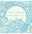 set seamless hand-drawn pattern and frame vector image