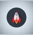 a colored rocket icon in a flat design spacecraft vector image