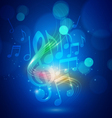 Abstract Music Notes and Bokeh Lights Blue vector image