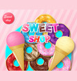 advertising for sweet bakery or candy shop and vector image