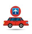 airport road sign sedan red vector image