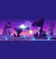 alien planet landscape at night for space game