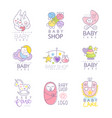baby shop set for logo design hand drawn vector image