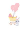 bashower rabbit and pram balloons decoration vector image