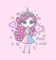 beautiful cute little unicorn girl with a wreath vector image vector image
