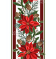 border with poinsettia pines and hollyberries vector image vector image