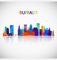 buffalo skyline silhouette in colorful geometric vector image vector image