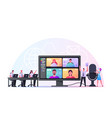 business characters tiny employees speak on video vector image vector image