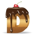 Cake letter D- birthday font vector image vector image