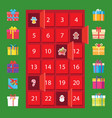 calendar with winter holidays and present boxes vector image