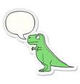 cartoon dinosaur and speech bubble sticker vector image vector image