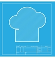 Chef cap sign White section of icon on blueprint vector image vector image