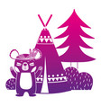 color silhouette bear animal with camp next to vector image vector image