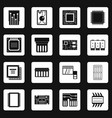computer chips icons set squares vector image vector image