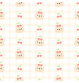 cute bear and cherry seamless pattern background vector image vector image