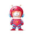 cute funny crazy cosmonaut vector image vector image