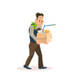 dismissed sad man carry carton box with belongings vector image