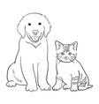 dog and cat line art 01 vector image
