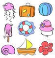 element summer holiday doodle style vector image vector image