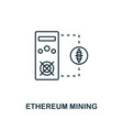 ethereum mining outline icon monochrome style vector image vector image