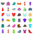 Fashion clothes icons set cartoon style vector image