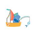 funny hippopotamus in boat flat vector image vector image