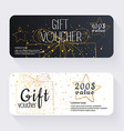 Gift voucher template with gold gift box Gift vector image vector image