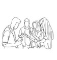 group of sketch people using smart phones and vector image vector image