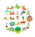 holiday landmark icons set cartoon style vector image vector image