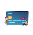 huge credit card shopper with bags and buyer with vector image